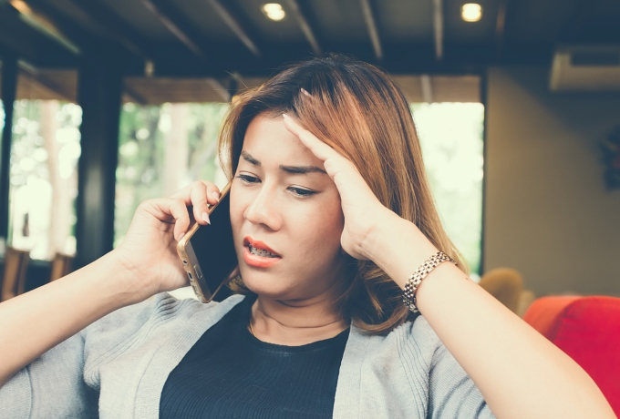 Woman seeking free phone counselling
