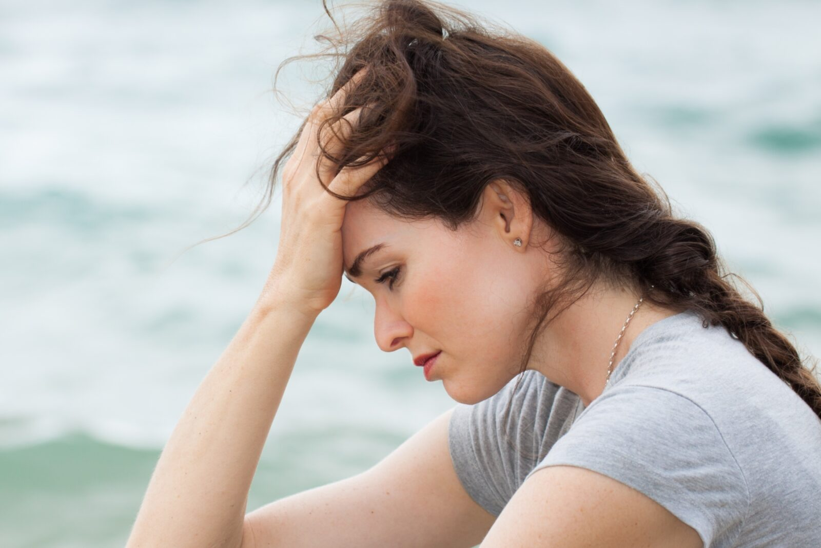 Upset woman worrying constantly