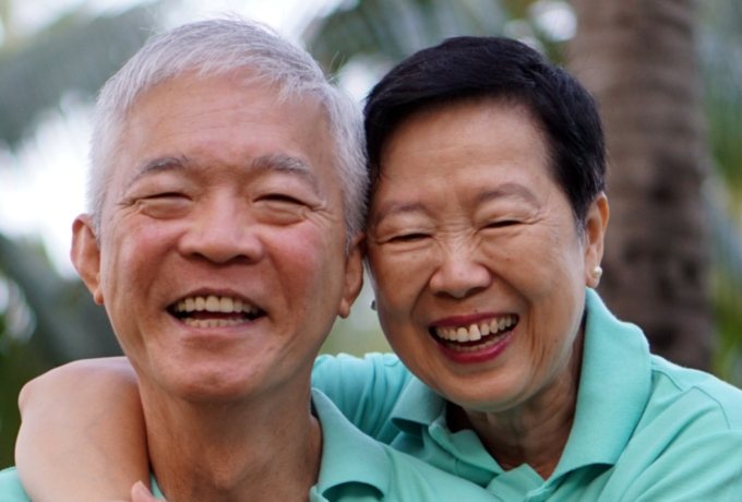 Elderly couple still happily married after many years