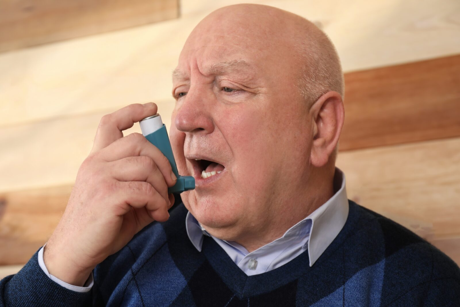 Older man living with chronic asthma