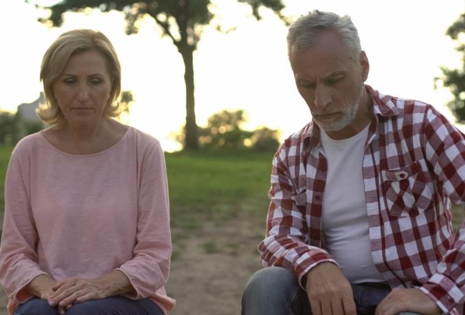 Senior couple talking about divorce or separation