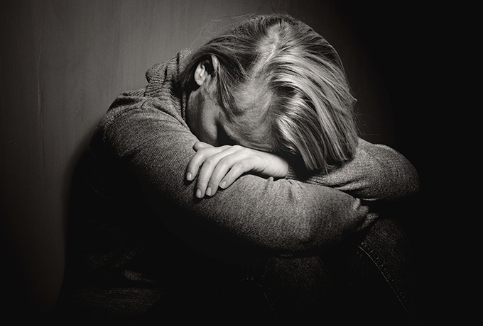 Women suffering from grief